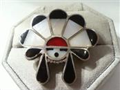 Lady's BLACK ONYX, CORAL & MOTHER OF PEARL Silver Designer Ring 925 Silver 12.2g